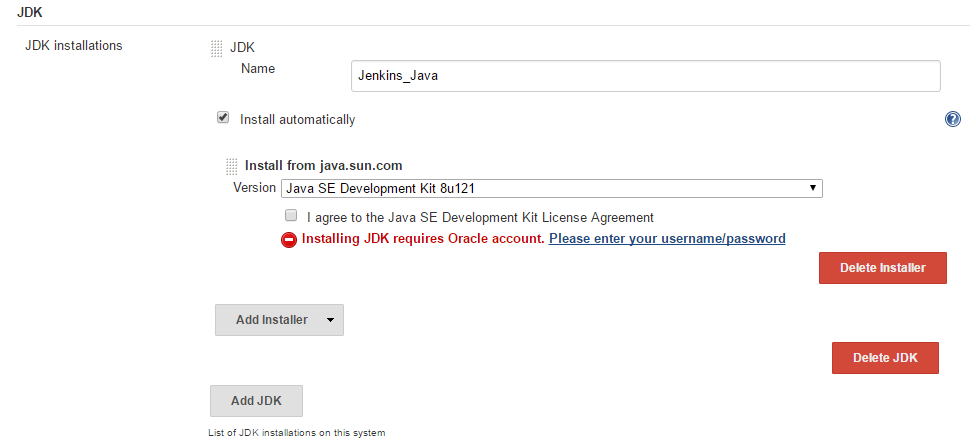 Jenkins Java Configuration