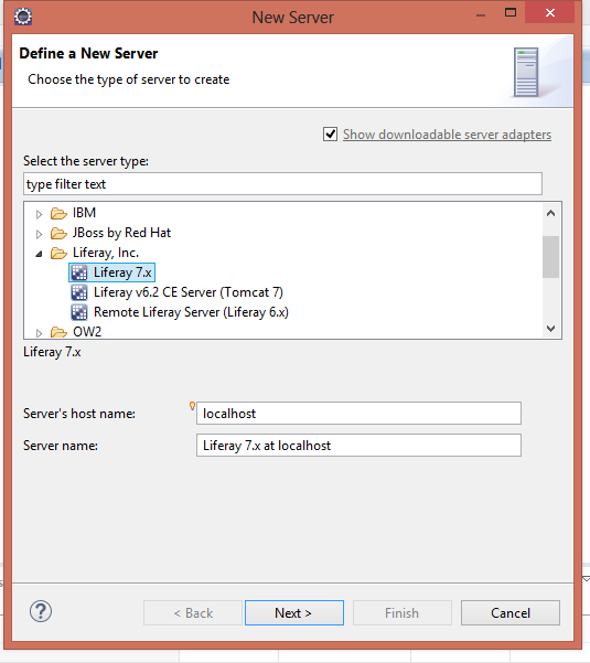 liferay7 server configuration in eclipse